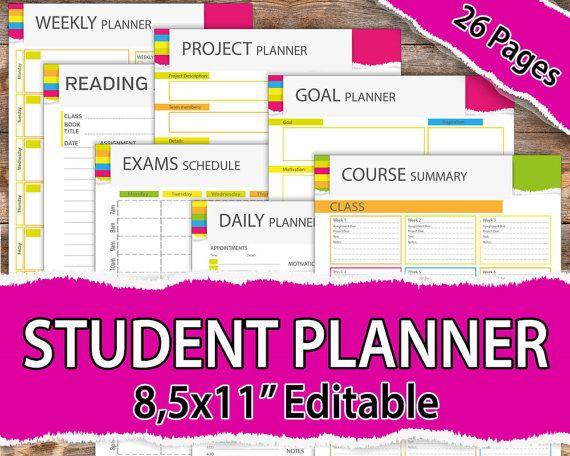 College student planner 2019, Student Planner 2019, Student