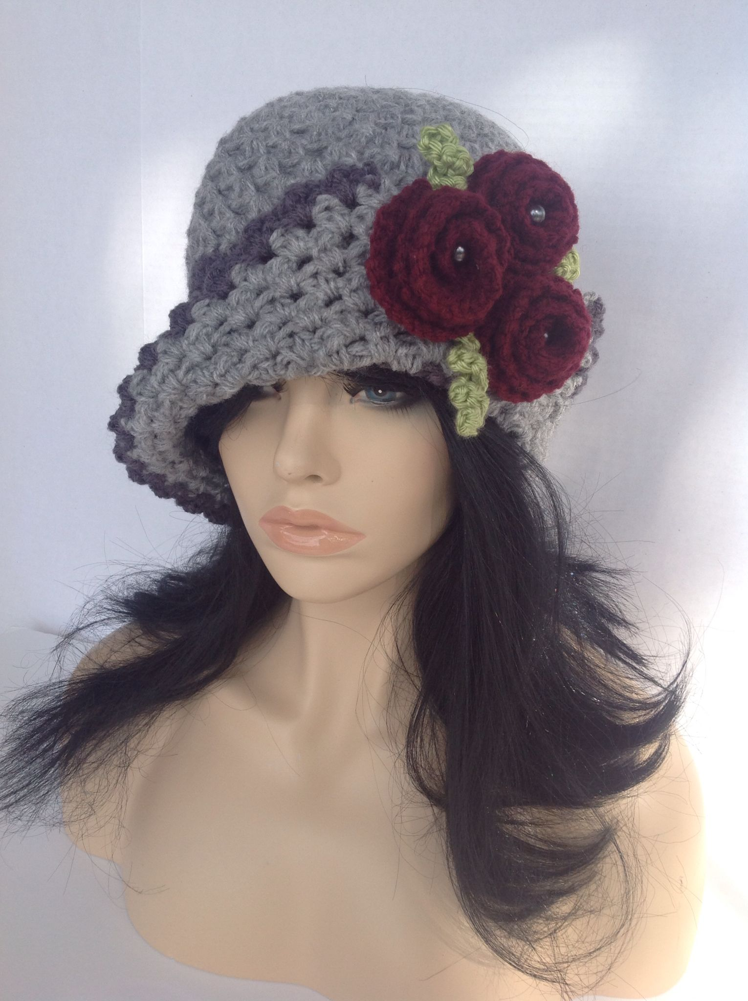 Vintage rose hat. $25. Crochet woman\'s hat. Pattern available here ...