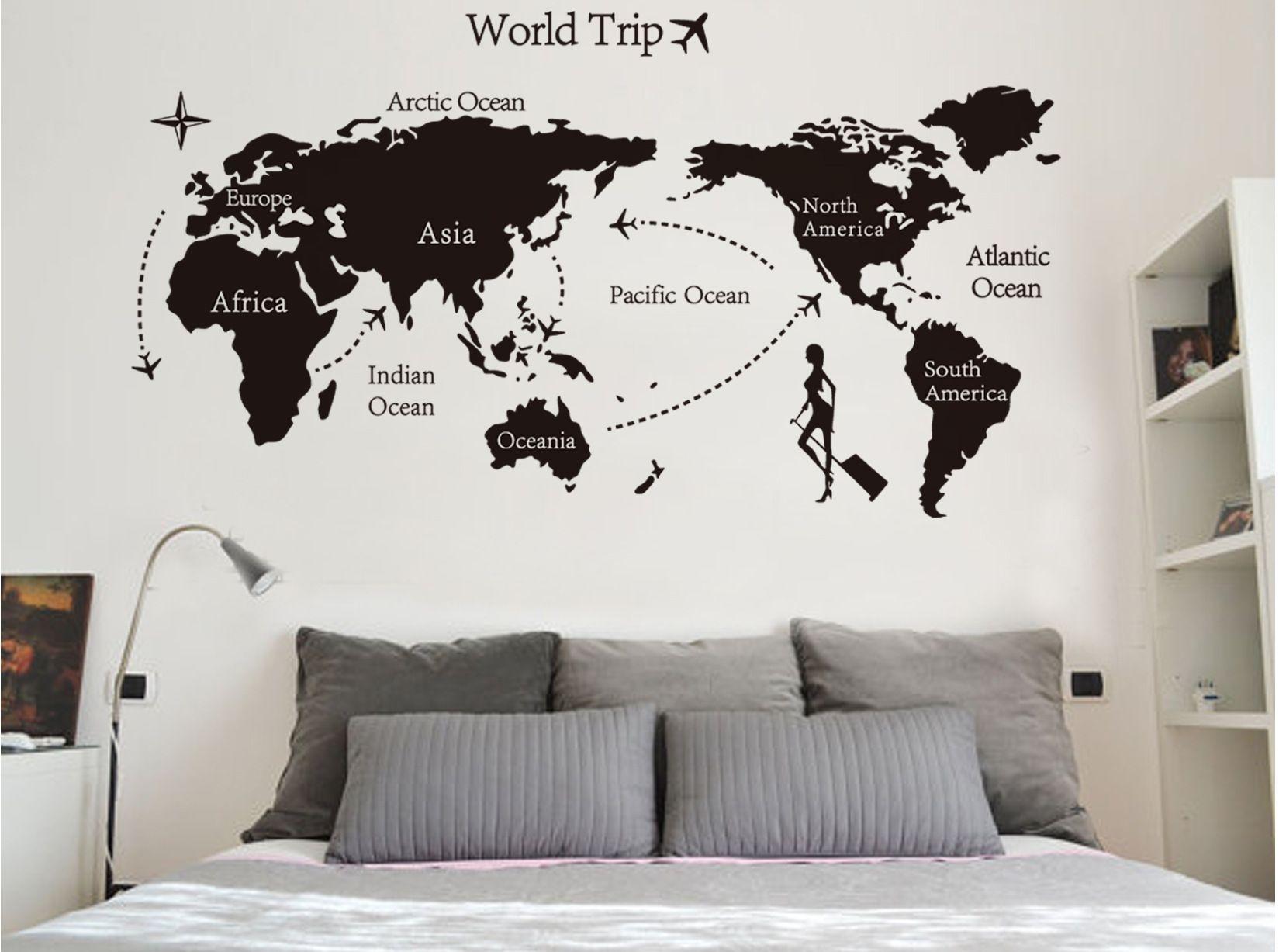 Creative large diy world map wallpaper d wall art home decor wall