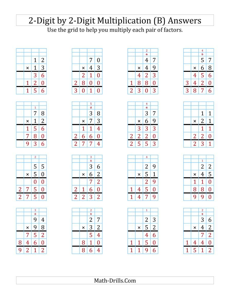 The 2 Digit By 2 Digit Multiplication With Grid Support B Math Worksheet Page 2 In 2020 Multiplication Multiplication Worksheets Printable Math Worksheets