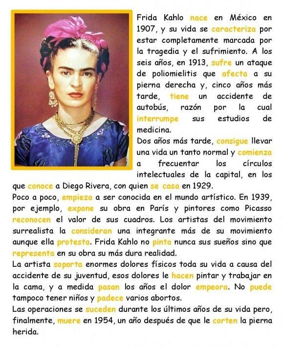 Frida Kahlo En Preterito Teaching Spanish Learning Spanish How