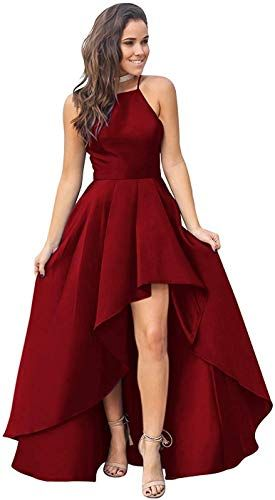 Buy Fanciest Womens Halter High Low Prom Dresses 2020 Satin Formal Evening Dress online – Weoffertopseller