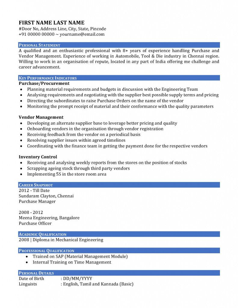 Resume Examples Vendor Management 2021 In 2021 Resume Examples Resume Resume Format In Word