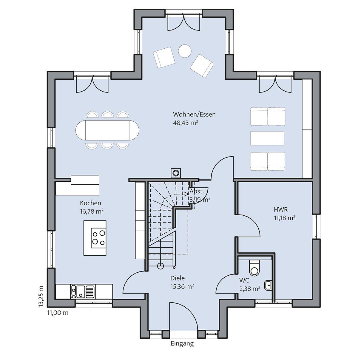 Haus-Sander_Grundriss_EG_bemasst_col16-hg.jpg (1200×1200) | Ideen ...