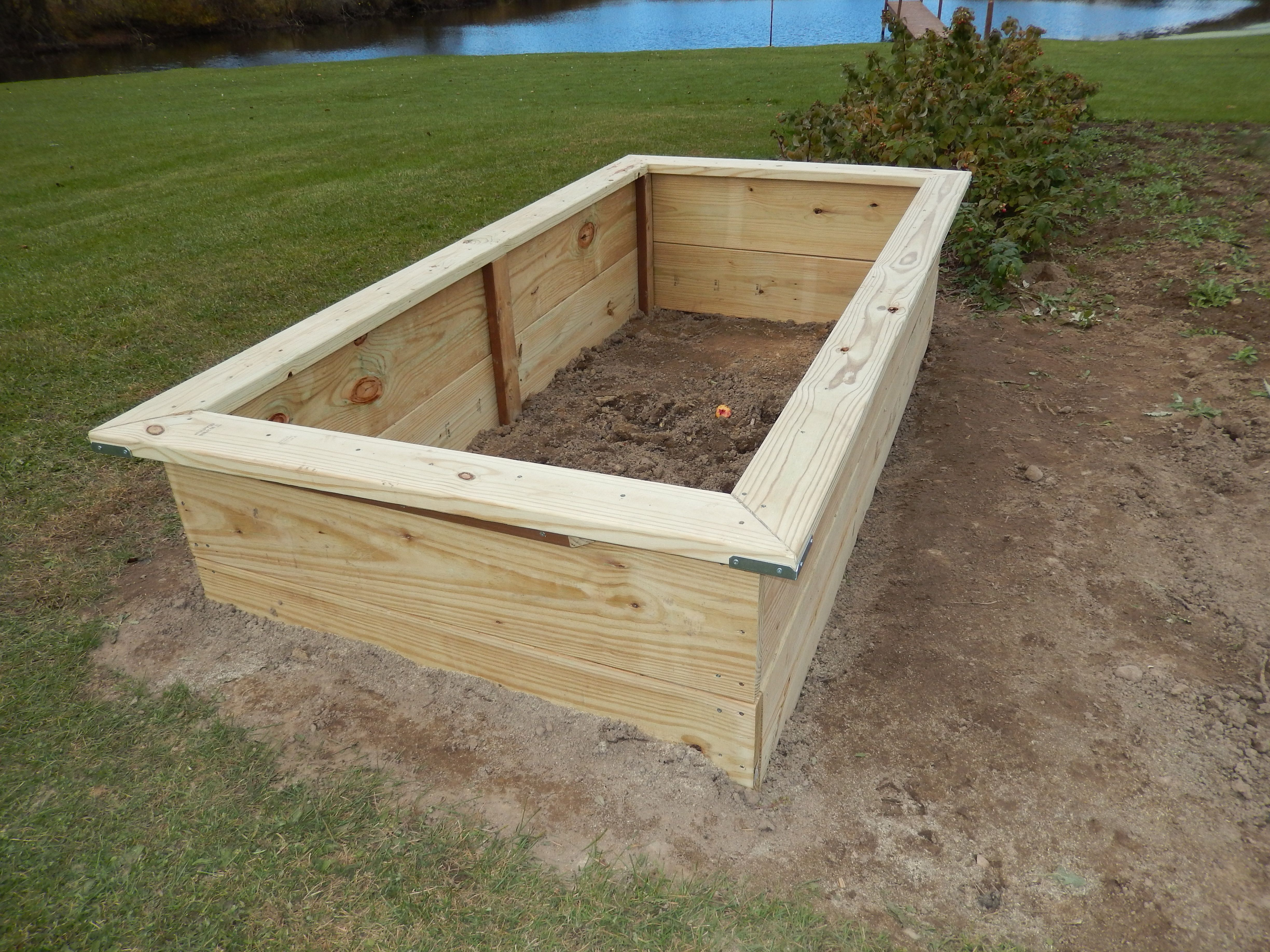 Raised Bed Construction Made With 2 X 12 4 8 Treated Lumber Beginning Of My Hugelkulture Method