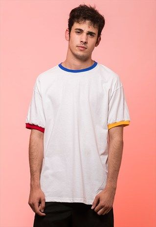 Download Three Colors Trim Ringer T Shirt Blue Yellow Red T Shirt Mens Shirts Mens Tops