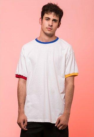 Download Three Colors Trim Ringer T Shirt Blue Yellow Red T Shirt Mens Shirts Mens Tops