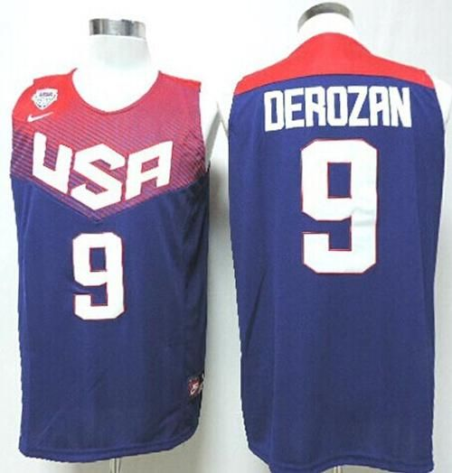 39e42c65e625 Nike 2014 Team USA  9 DeMar DeRozan Dark Blue Stitched NBA Jersey ...