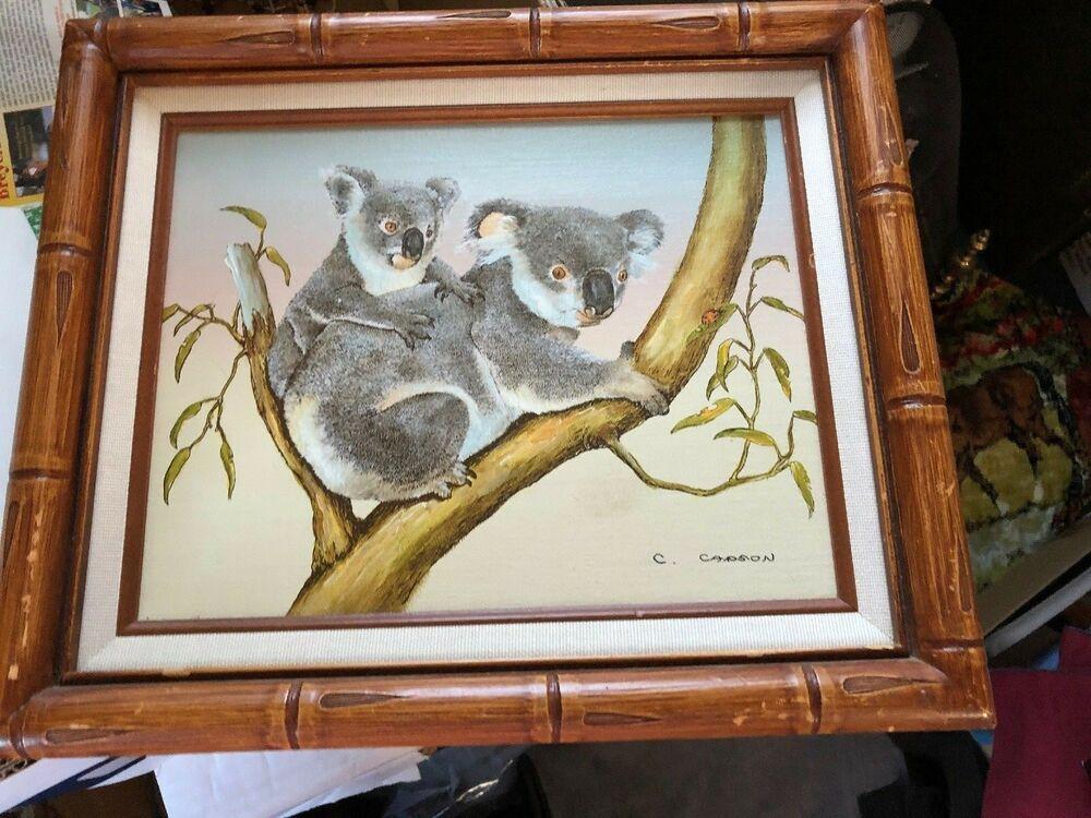 Original Oil Painting On Canvas Korean Koalas In Eucalyptus Tree By C Carson Koala Art Koala Canvas Painting Oil Painting On Canvas Original Oil Painting