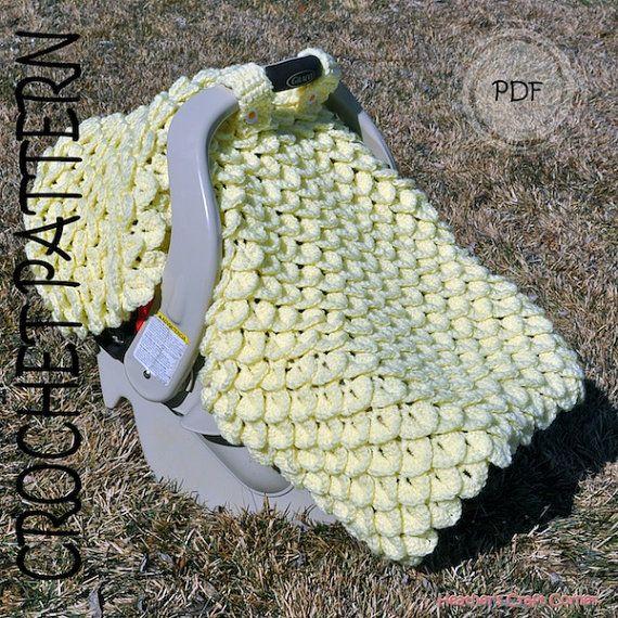 Crochet Pattern - Crocodile Stitch Car Seat Canopy / Blanket (UK u0026 US Terms Included) & Crochet Pattern Crocodile Stitch Car Seat by HeathersCraftCorner ...