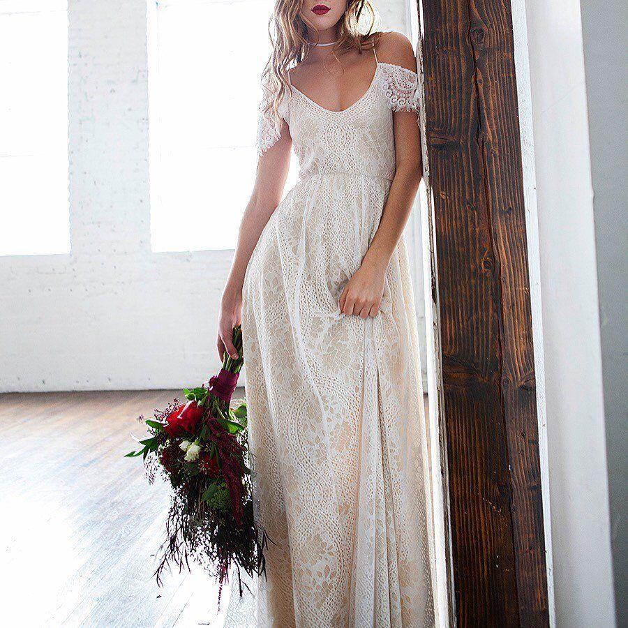 Off shoulder wedding dress boho wedding dress hippie wedding