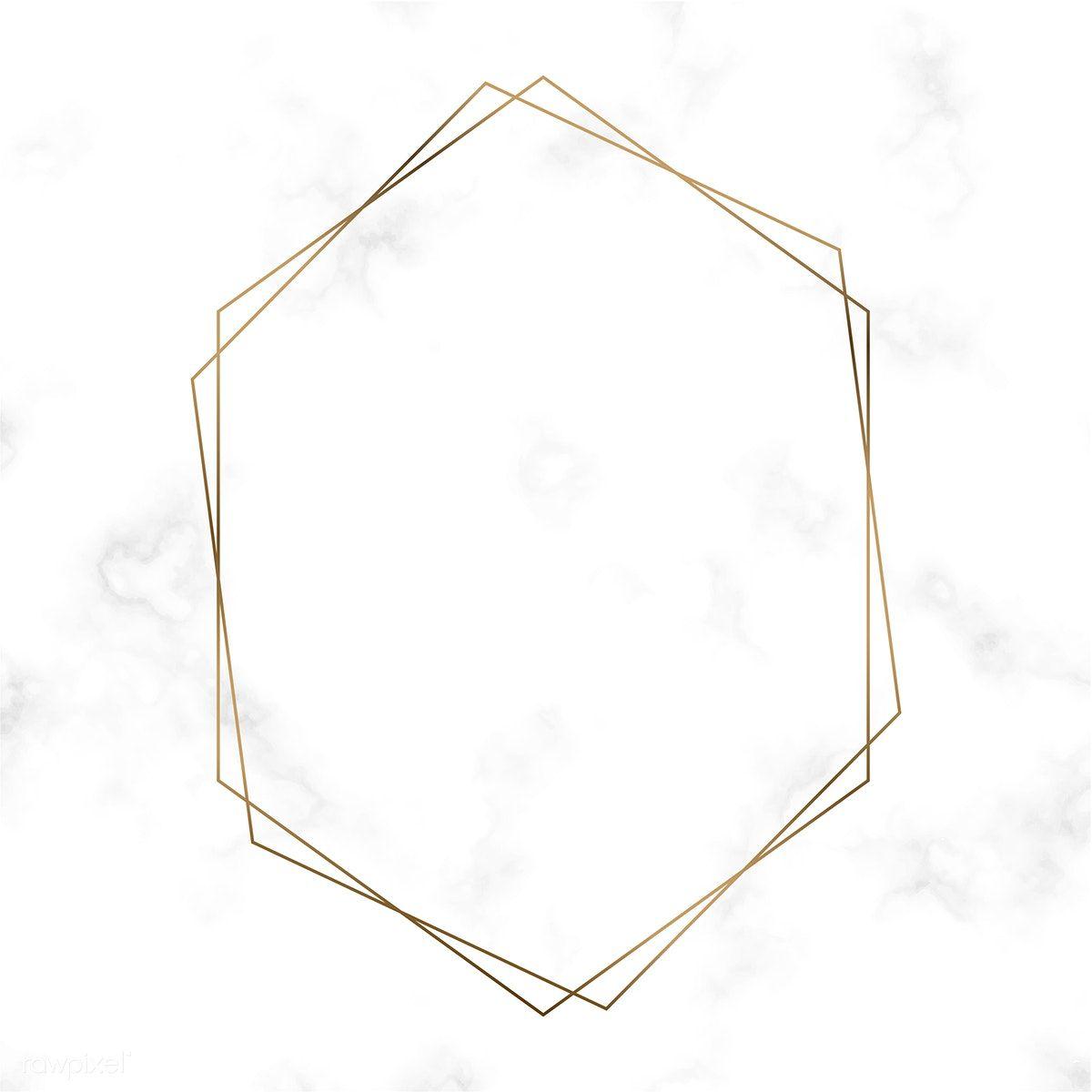 Download Premium Vector Of Golden Hexagon Frame Template Vector 494528 Frame Template Picture Frame Template Free Frames