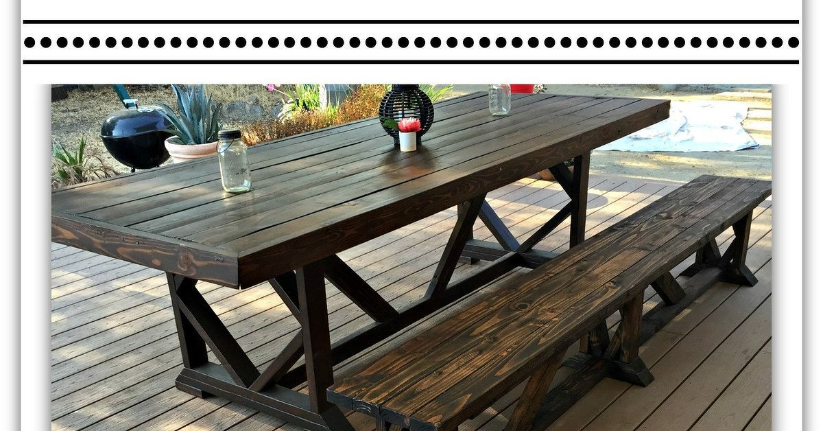 Diy extra long outdoor wood bench outdoor dining