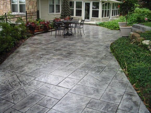 concrete patio stamped slate - Google Search   Poured ... on Poured Concrete Patio Ideas id=53472
