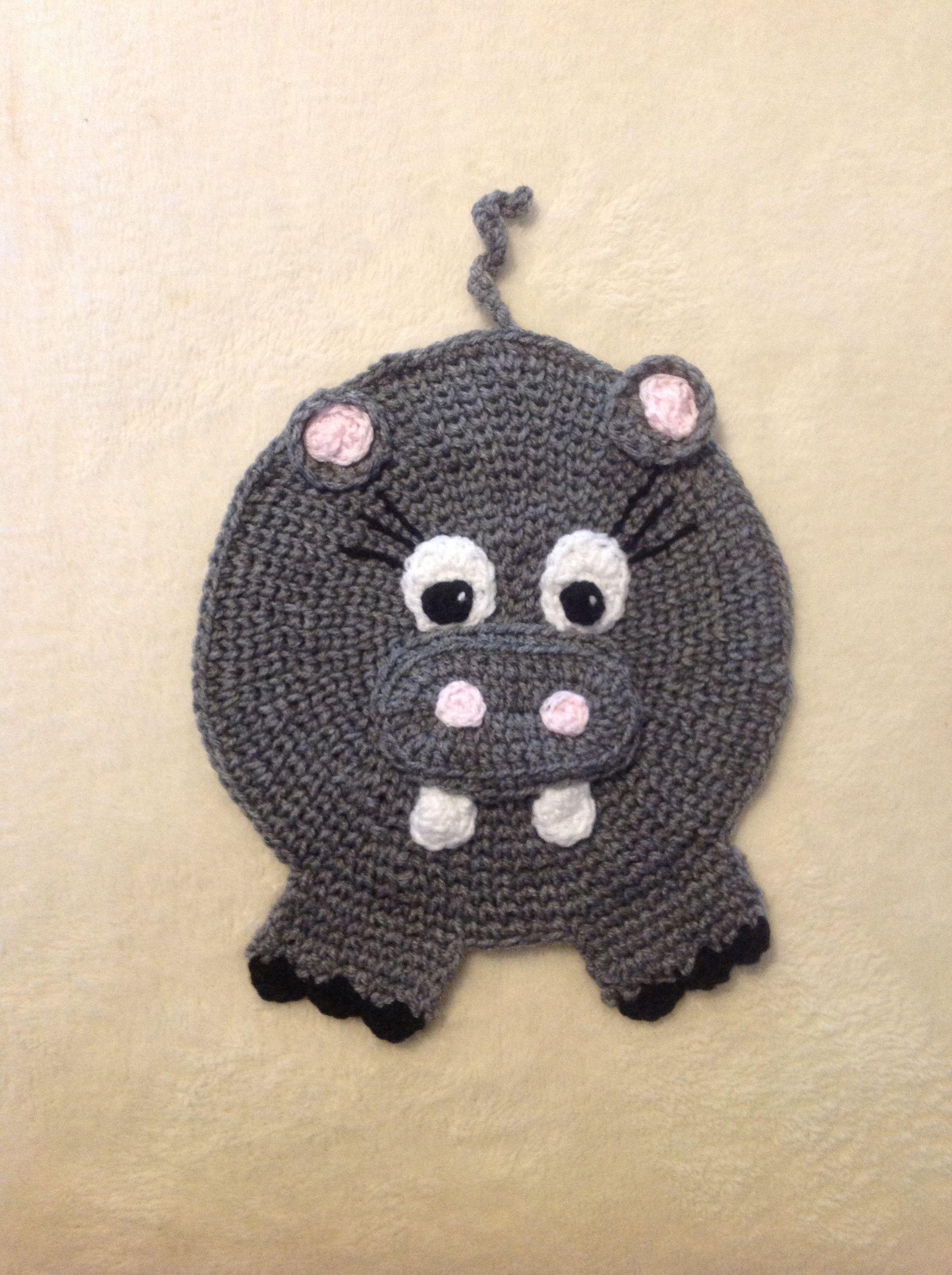 A grey crochet hippo potholder | Lauren\'s crochet interests ...