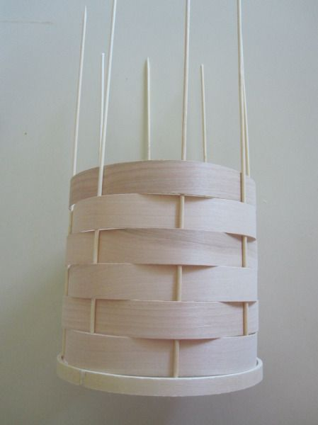 Woven Veneer Pendant Except Re Use A Lamp Shade Frame Instead Of Embroidery Hoops Little