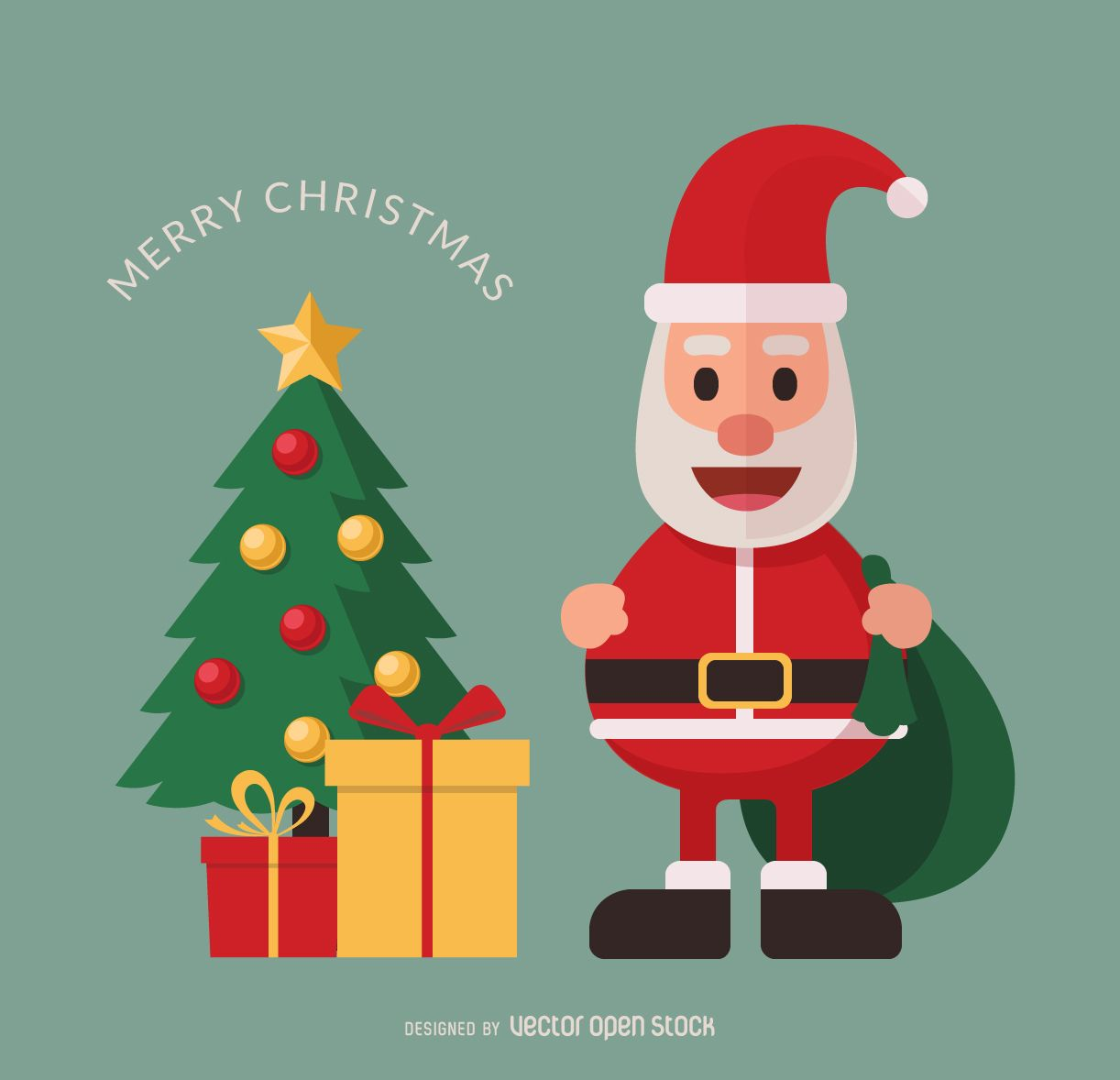 Flat Santa Claus Illustration Featuring A Christmas Tree And Gift