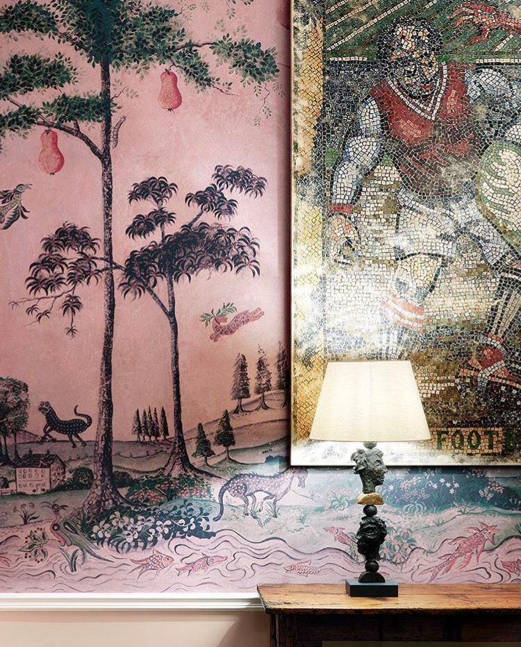 This magical Mythical Land wallpaper is inspired American folk art and designed by Kit Kemp.
