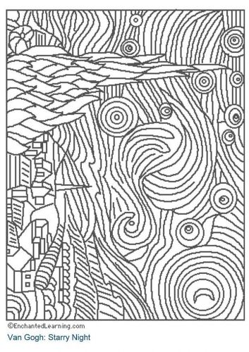 Starry Night Coloring Page Sub Lesson With Art History Sanat