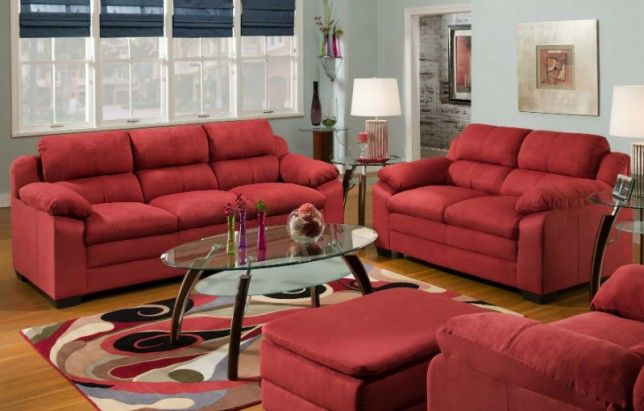 Bold Red Microfiber Sofa and Loveseat Image | Decorate my ...