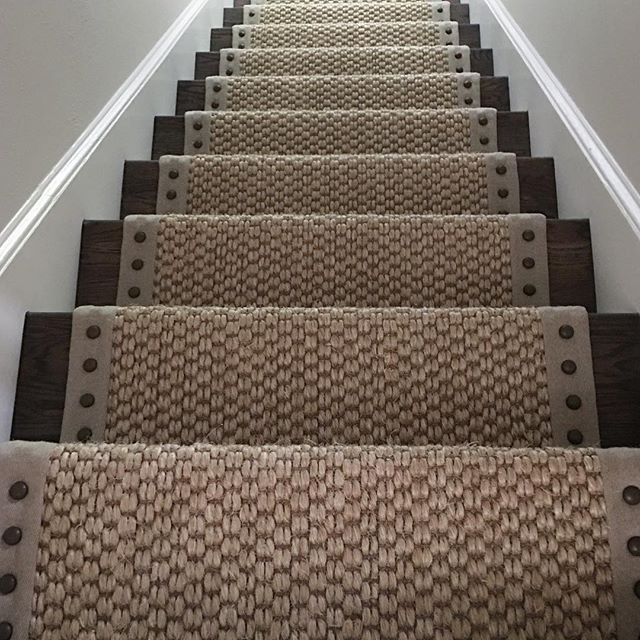 Merveilleux Heathered Binding, Large Bronze Nails On Stark Carpet. Carpet Stairs, Carpet  Runner On