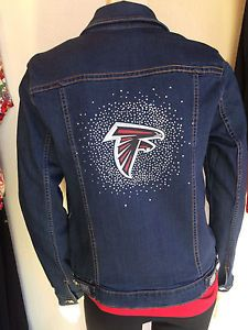 d73630fb Details about ATLANTA FALCONS NFL Womens Blinged Jean Jacket NWT ...