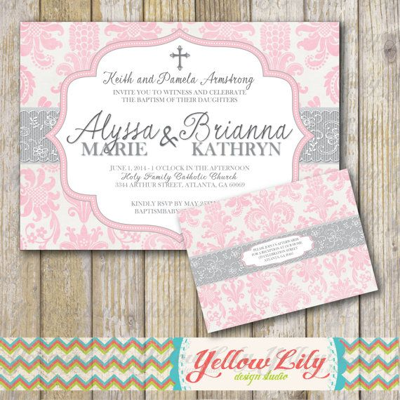 girl baptism invitation pink twins girls diy printable