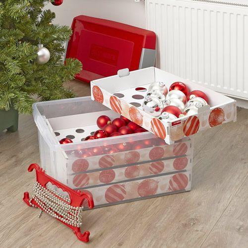 Decorative Plastic Storage Boxes With Lids Xl 60 Ltr Decorations Storage Box  Christmas Decoration Storage