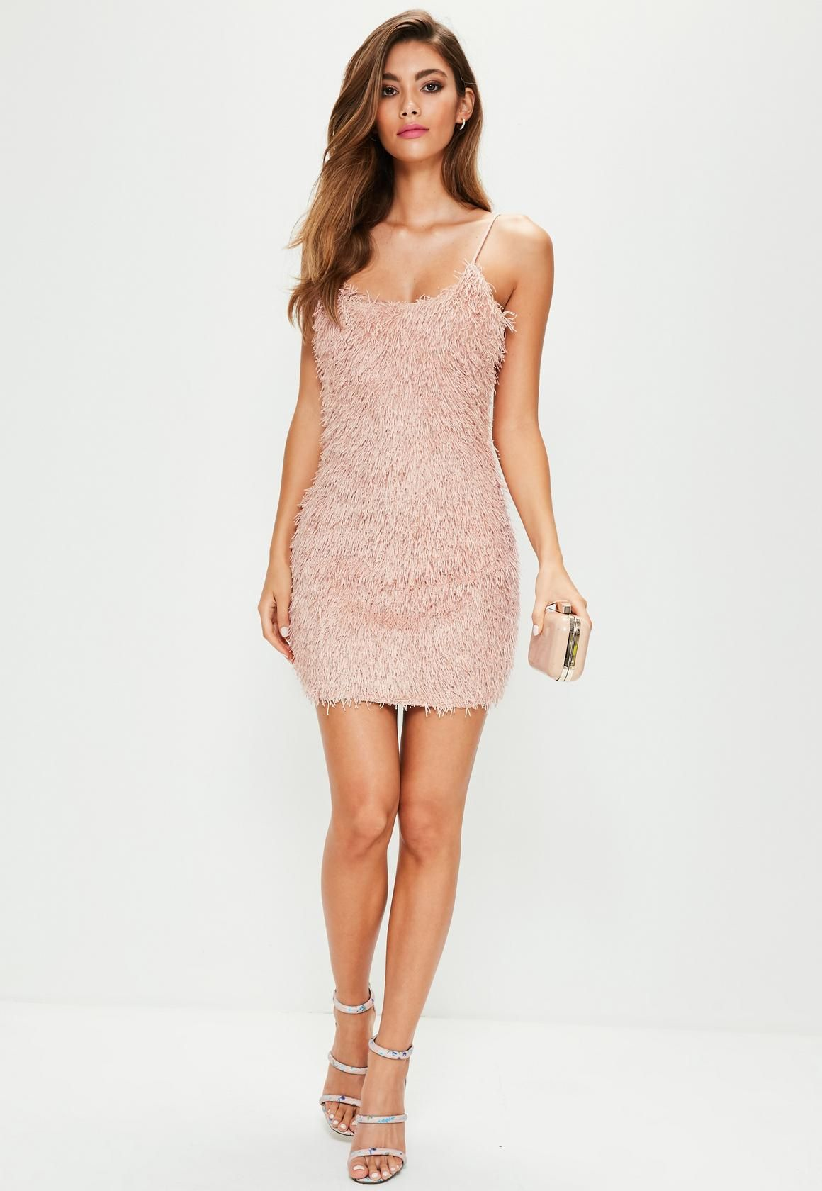 Missguided - Pink Strappy Fringe Bodycon Dress  4d79af3198