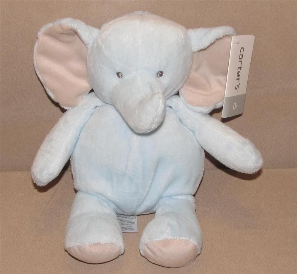 Carters Blue Elephant Tan Ears Plush Rattle Baby Toy 10 Gray Eyes 61298 Nwt Carters