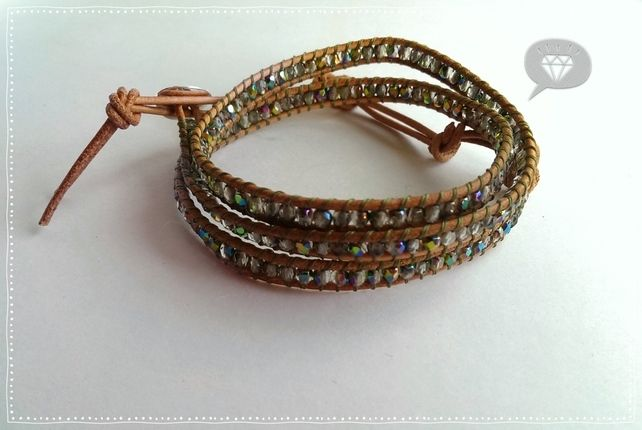 Triple Leather Wrap Bracelet with Czech Faceted beads £37.00