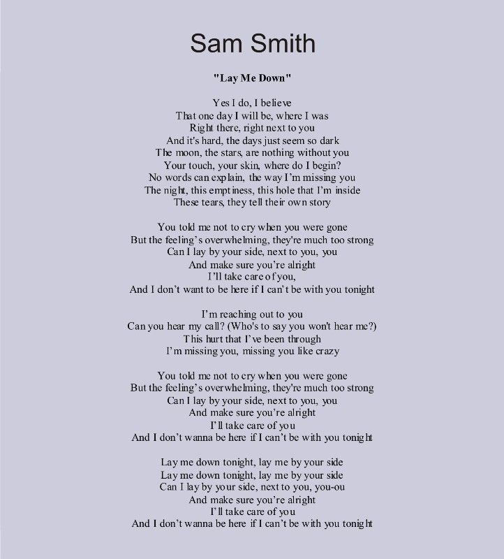 Lyric make your own lyrics : Sam Smith -- Lay Me Down. I absolutely love this song ...