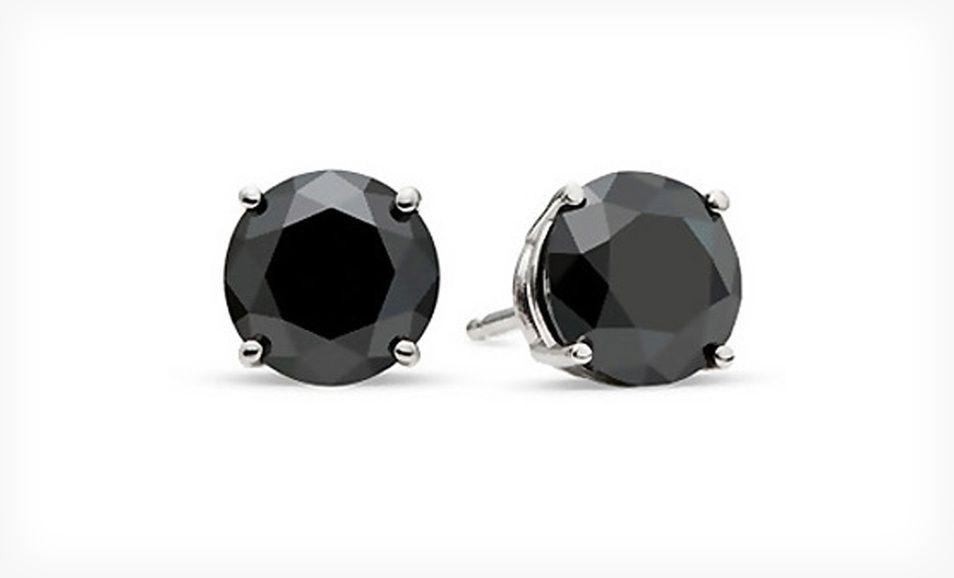 Groupon 49 99 For 3 4 Carat Black Diamond Stud Earrings