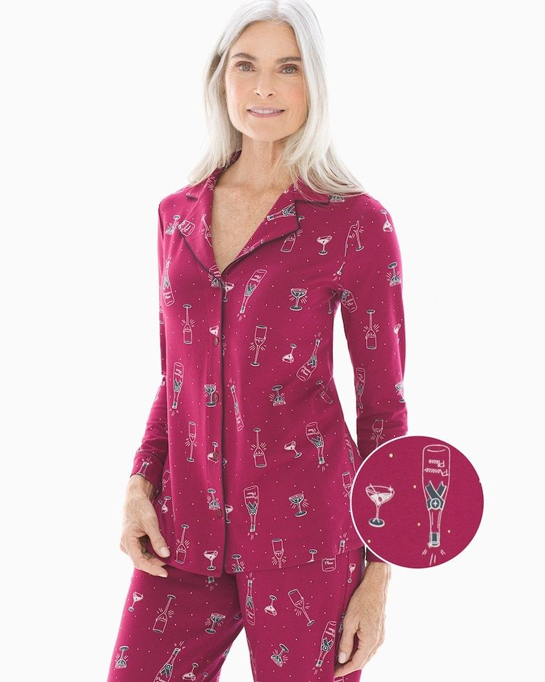 3c59639c8f Soma Embraceable Long Sleeve Notch Collar Pajama Top Prosecco Please  Cranberry