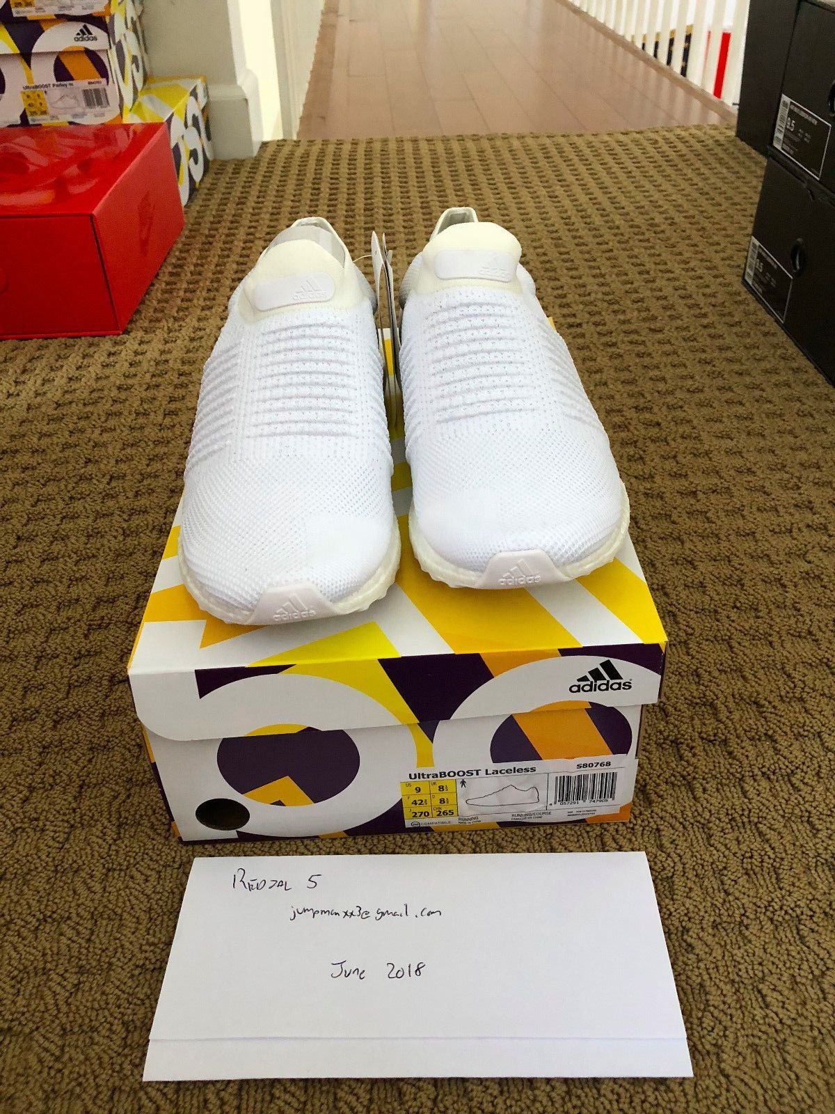 f979a0424436a Adidas Ultra Boost Laceless Triple White - S80768 - size 9