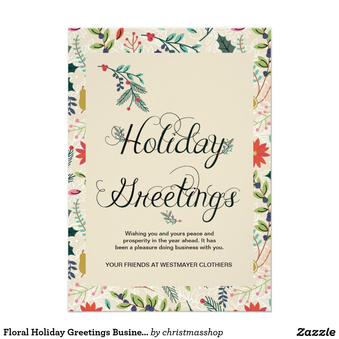 Floral Holiday Greetings Business Corporate Card Christmas Cards