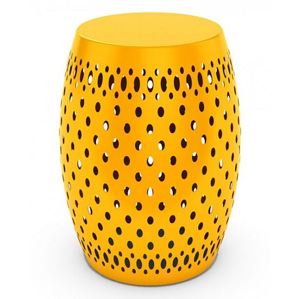 DAR Metal Garden Stool ($70) ❤ Liked On Polyvore Featuring Home, Outdoors,  Patio Furniture, Outdoor Stools, Yellow, Metal Garden Stool, Pedestal End  Table, ...