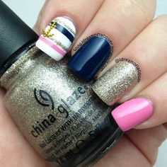 Nautical pink blue and gold