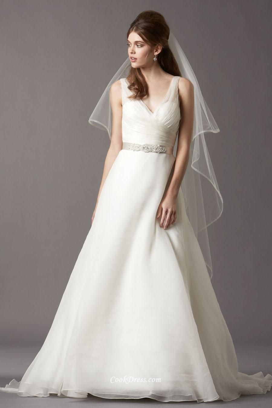 Sleeveless vneck bow layered organza aline wedding dress vback