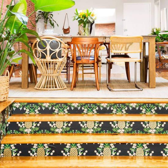 Wooden Stairs With Painted Stripes Updating Interior: How To Update Stair Walls
