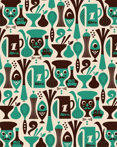 I love retro cooking related patterns!