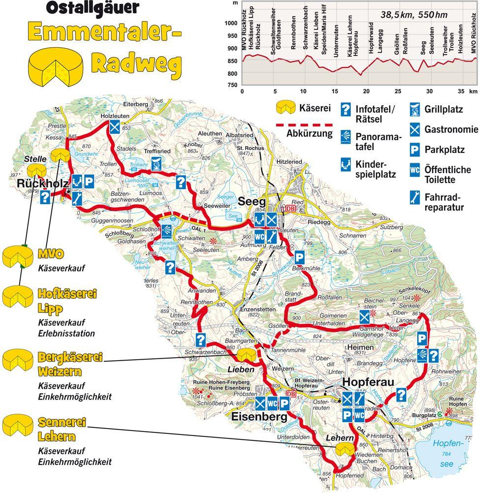 Emmental Radweg Radwanderweg Karte Emmentaler Radweg Map
