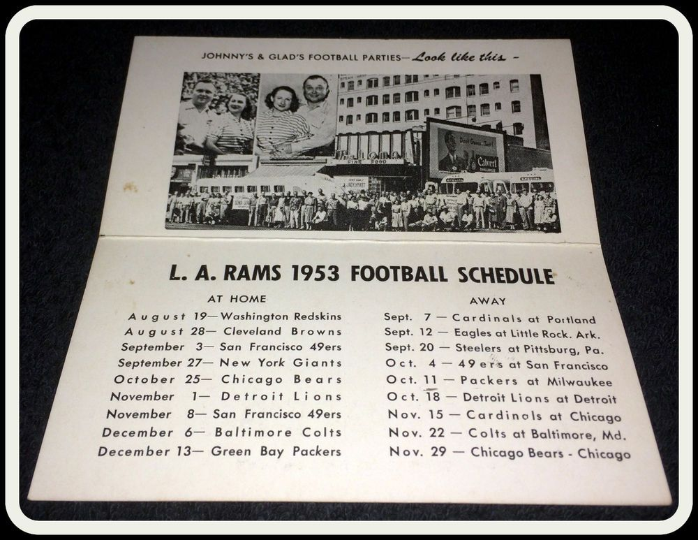Details About 1970 Los Angeles Rams Football Pocket Schedule City