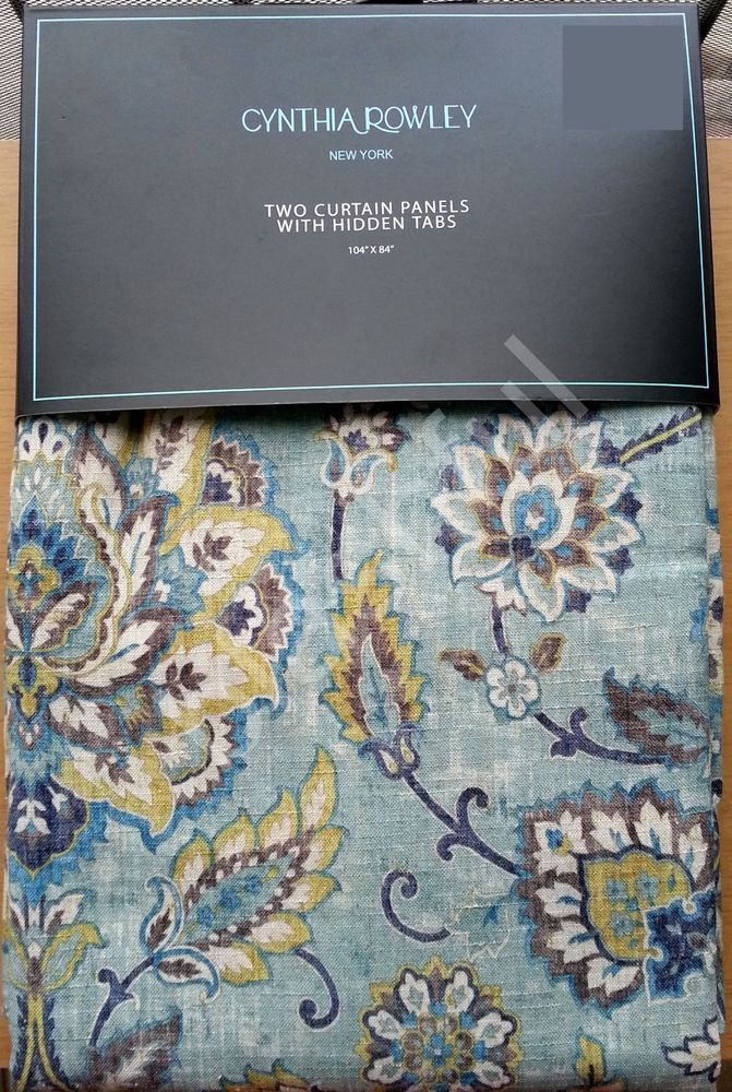 Cynthia Rowley Blue Gold Gray Jacobean Floral 2 Window Curtain Panels 52x84 Cynthiarowley Modern Blue And Gold Curtains