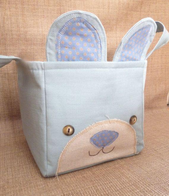 Bear Basket Container / Baby Boy Nursery door NellyJaneCrafts