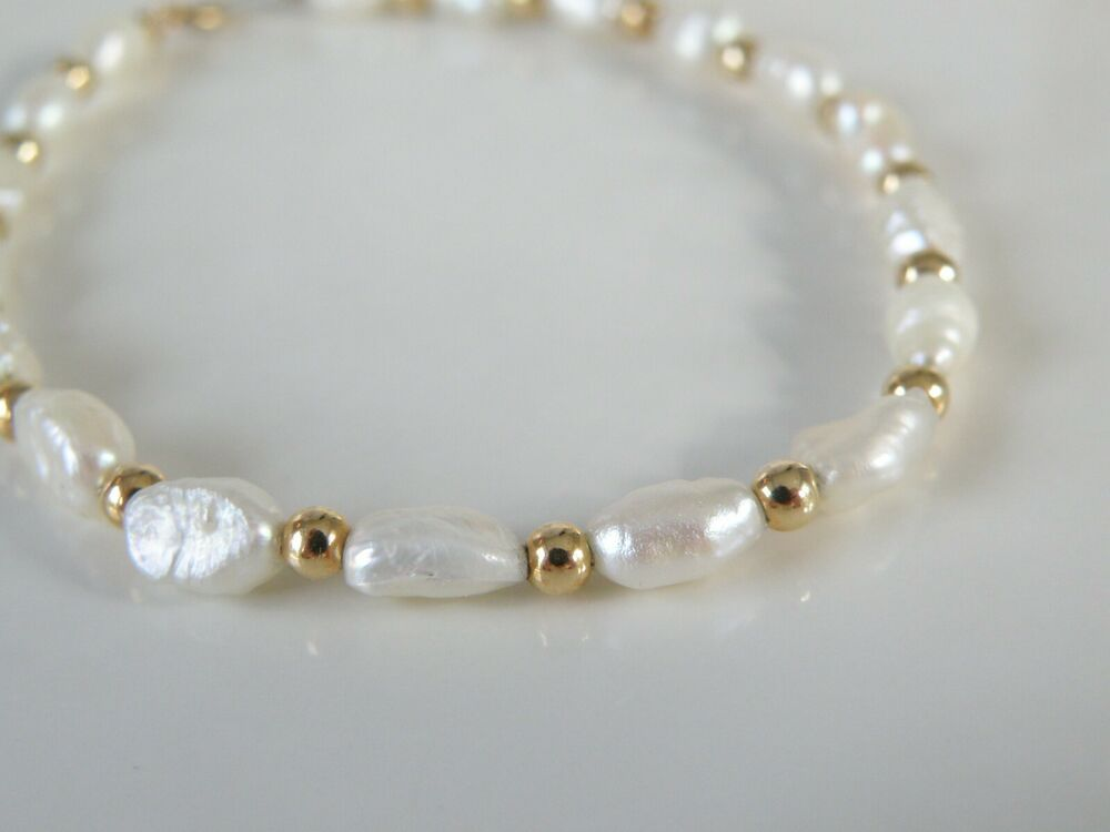 Vintage Rice Pearl Beaded Bracelet
