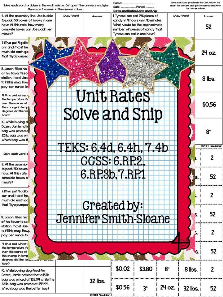 Unit Rates Solve and Snip by 4mulaFun – Comparing Unit Rates Worksheet