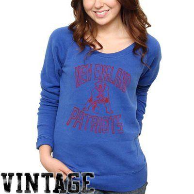 f888312cad76 Junk Food New England Patriots Ladies Classic Off-The-Shoulder Sweatshirt -  Royal Blue