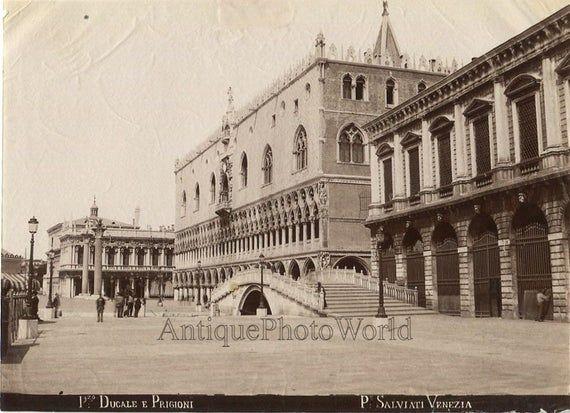 Photo of Palazzo delle Prigioni Venice Italy antique albumen photo by Salviati