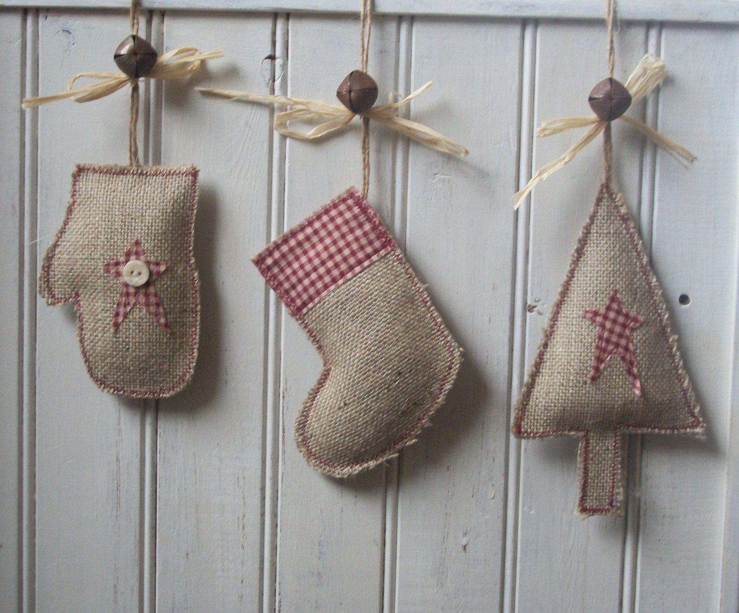 handmade rustic christmas tree stocking mitten